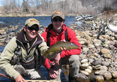 Provo River guide with client and nice Brown Trout